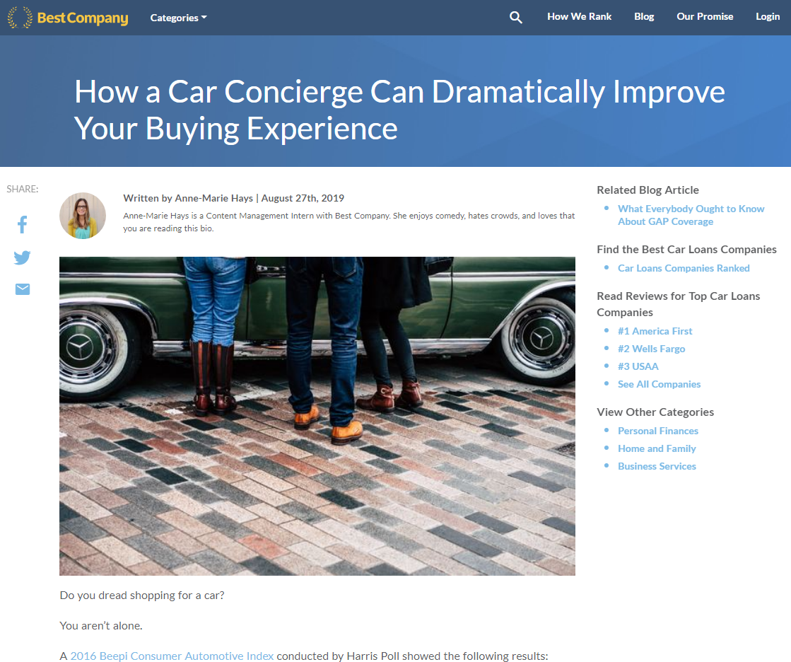 "Screenshots of ""Best Company"" article featuring Car Concierge and Andrew Guthmiller."